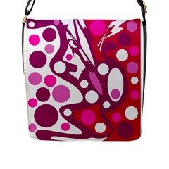 Magenta And White Decor Flap Messenger Bag (l)  by Valentinaart