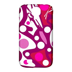 Magenta And White Decor Samsung Galaxy S4 Classic Hardshell Case (pc+silicone) by Valentinaart