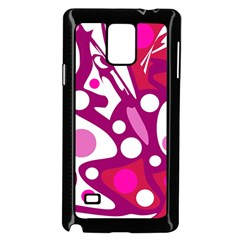 Magenta And White Decor Samsung Galaxy Note 4 Case (black) by Valentinaart