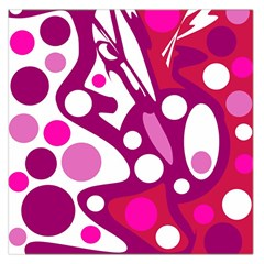 Magenta And White Decor Large Satin Scarf (square) by Valentinaart