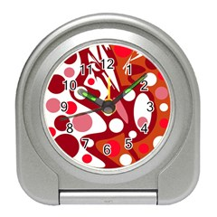 Red And White Decor Travel Alarm Clocks by Valentinaart