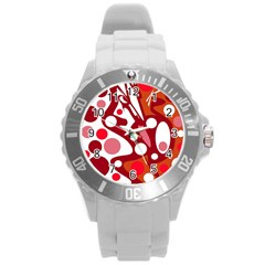 Red And White Decor Round Plastic Sport Watch (l)