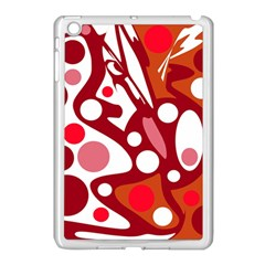 Red And White Decor Apple Ipad Mini Case (white) by Valentinaart