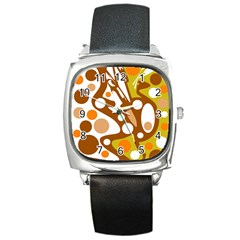 Orange And White Decor Square Metal Watch by Valentinaart