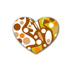 Orange And White Decor Rubber Coaster (heart)  by Valentinaart