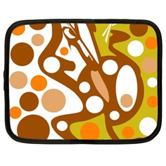 Orange And White Decor Netbook Case (xxl)  by Valentinaart