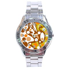Orange And White Decor Stainless Steel Analogue Watch by Valentinaart