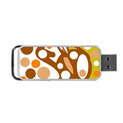 Orange And White Decor Portable Usb Flash (two Sides) by Valentinaart