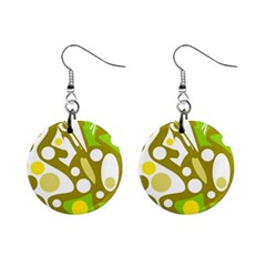 Green And Yellow Decor Mini Button Earrings by Valentinaart