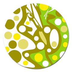 Green And Yellow Decor Magnet 5  (round) by Valentinaart