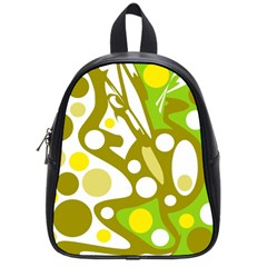 Green And Yellow Decor School Bags (small)  by Valentinaart