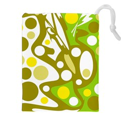 Green And Yellow Decor Drawstring Pouches (xxl) by Valentinaart