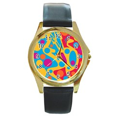 Colorful Decor Round Gold Metal Watch by Valentinaart