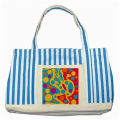 Colorful Decor Striped Blue Tote Bag by Valentinaart