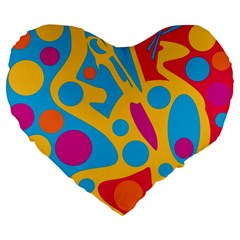 Colorful Decor Large 19  Premium Heart Shape Cushions