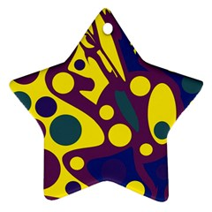 Deep Blue And Yellow Decor Ornament (star)  by Valentinaart