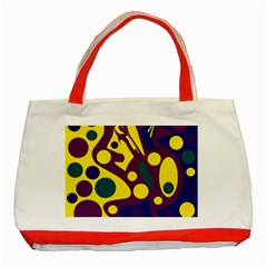Deep Blue And Yellow Decor Classic Tote Bag (red) by Valentinaart