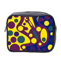 Deep Blue And Yellow Decor Mini Toiletries Bag 2 Side by Valentinaart