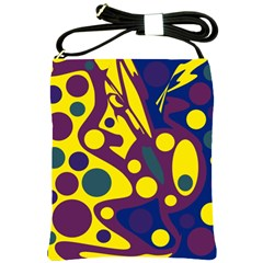 Deep Blue And Yellow Decor Shoulder Sling Bags by Valentinaart