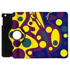 Deep Blue And Yellow Decor Apple Ipad Mini Flip 360 Case by Valentinaart
