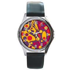 Colorful Chaos Round Metal Watch by Valentinaart