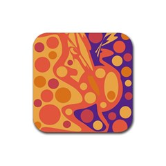 Orange And Blue Decor Rubber Square Coaster (4 Pack)  by Valentinaart