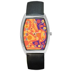 Orange And Blue Decor Barrel Style Metal Watch by Valentinaart