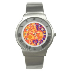 Orange And Blue Decor Stainless Steel Watch by Valentinaart