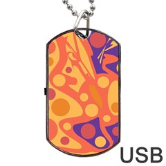 Orange And Blue Decor Dog Tag Usb Flash (two Sides)  by Valentinaart