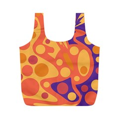 Orange And Blue Decor Full Print Recycle Bags (m)