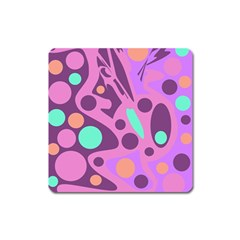 Purple And Green Decor Square Magnet by Valentinaart