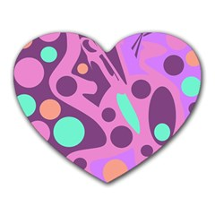Purple And Green Decor Heart Mousepads by Valentinaart