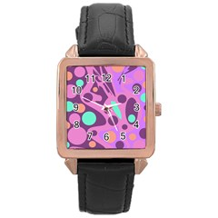 Purple And Green Decor Rose Gold Leather Watch  by Valentinaart