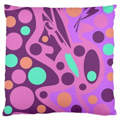 Purple And Green Decor Large Flano Cushion Case (two Sides) by Valentinaart