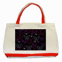 Purple Butterflies Pattern Classic Tote Bag (red) by Valentinaart
