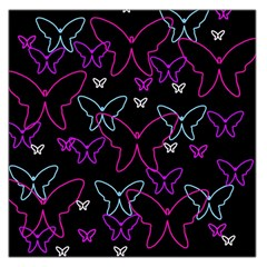 Purple Butterflies Pattern Large Satin Scarf (square) by Valentinaart