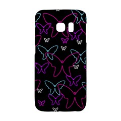 Purple Butterflies Pattern Galaxy S6 Edge by Valentinaart