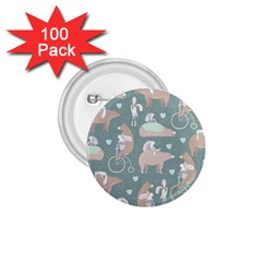 Bear Ruding Unicycle Unique Pop Art All Over Print 1 75  Buttons (100 Pack)