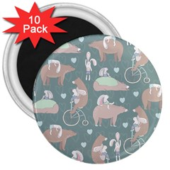 Bear Ruding Unicycle Unique Pop Art All Over Print 3  Magnets (10 Pack)