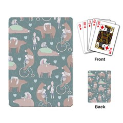 Bear Ruding Unicycle Unique Pop Art All Over Print Playing Card by CraftyLittleNodes