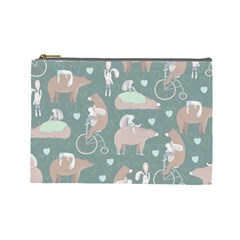 Bear Ruding Unicycle Unique Pop Art All Over Print Cosmetic Bag (large)