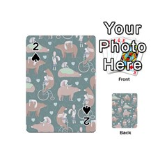 Bear Ruding Unicycle Unique Pop Art All Over Print Playing Cards 54 (mini)  by CraftyLittleNodes