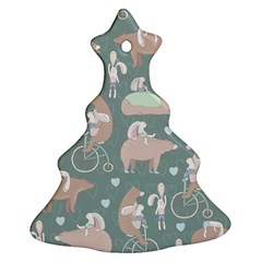Bear Ruding Unicycle Unique Pop Art All Over Print Christmas Tree Ornament (2 Sides)