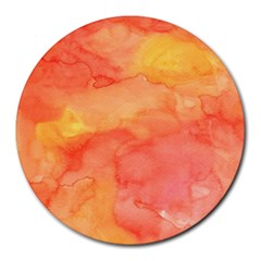 Watercolor Yellow Fall Autumn Real Paint Texture Artists Round Mousepads by CraftyLittleNodes