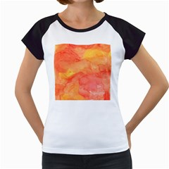 Watercolor Yellow Fall Autumn Real Paint Texture Artists Women s Cap Sleeve T