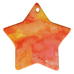 Watercolor Yellow Fall Autumn Real Paint Texture Artists Star Ornament (two Sides)  by CraftyLittleNodes