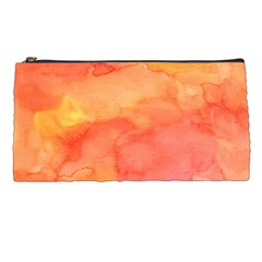 Watercolor Yellow Fall Autumn Real Paint Texture Artists Pencil Cases by CraftyLittleNodes