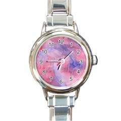 Galaxy Cotton Candy Pink And Blue Watercolor  Round Italian Charm Watch