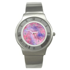 Galaxy Cotton Candy Pink And Blue Watercolor  Stainless Steel Watch
