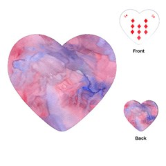 Galaxy Cotton Candy Pink And Blue Watercolor  Playing Cards (heart)